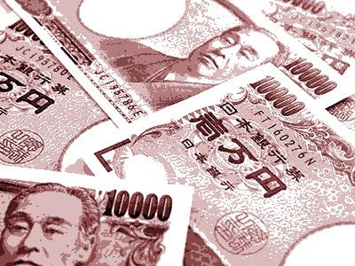 無造作に並べられた一万円札